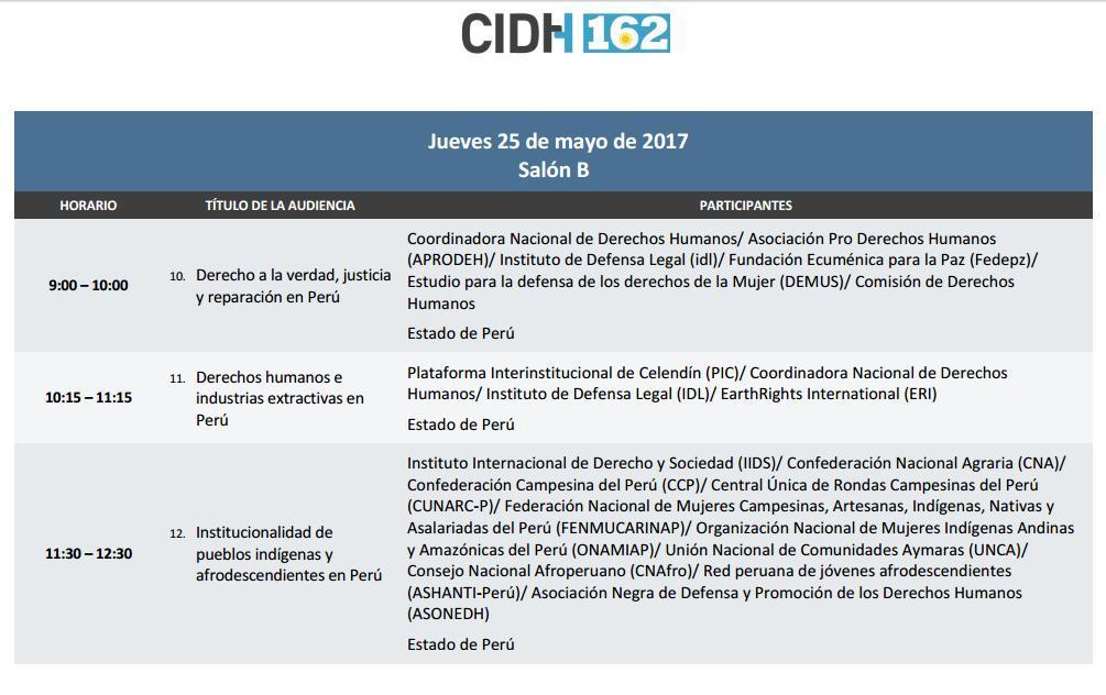 162 Período Extraordinario de Sesiones - Perú